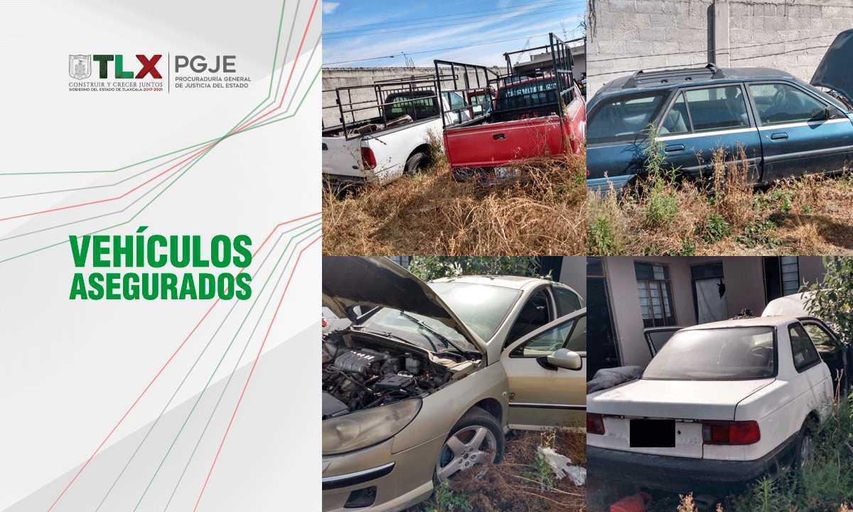 PGJE recupera 5 vehículos y autopartes con reporte de robo