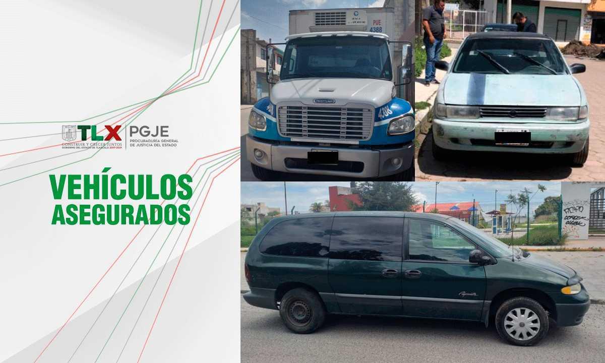 Recupera PGJE tres vehículos con reporte de robo