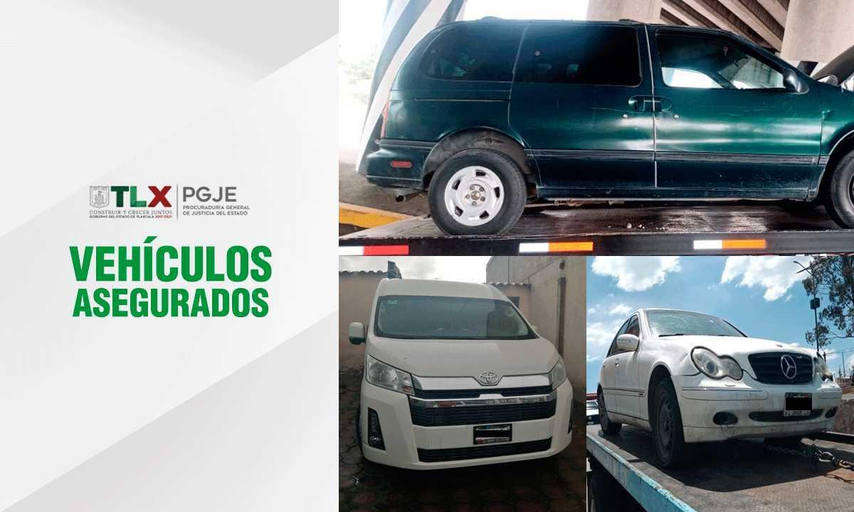 Localiza PGJE dos vehículos con reporte de robo y uno con huellas de desvalijamiento