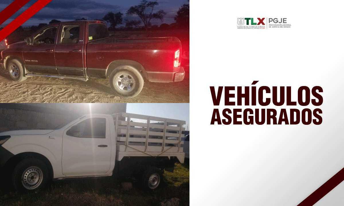 Recupera PGJE dos camionetas con reporte de robo vigente