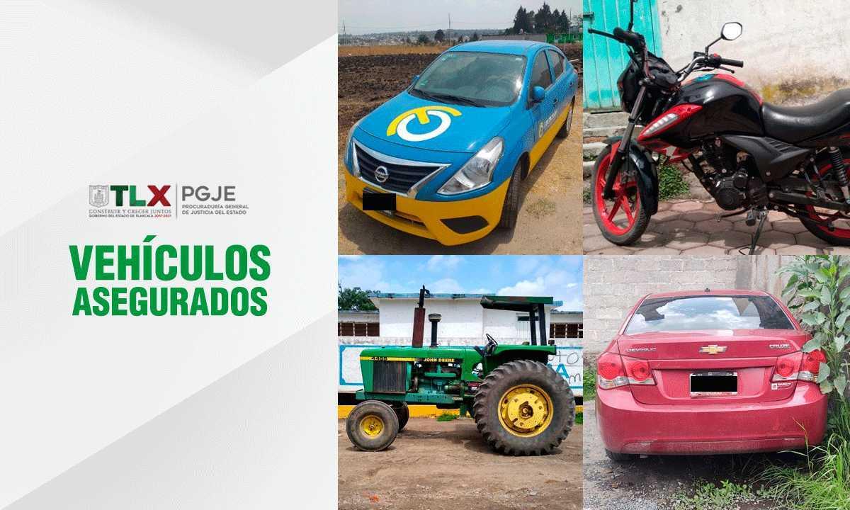 Recupera PGJE un tractor, una motocicleta y dos vehículos con reporte de robo