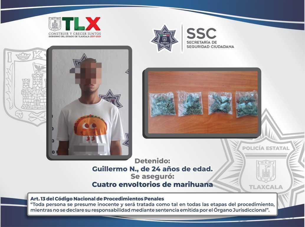 La SSC detiene a una persona por la posesión ilegal de enervantes en Xaloztoc