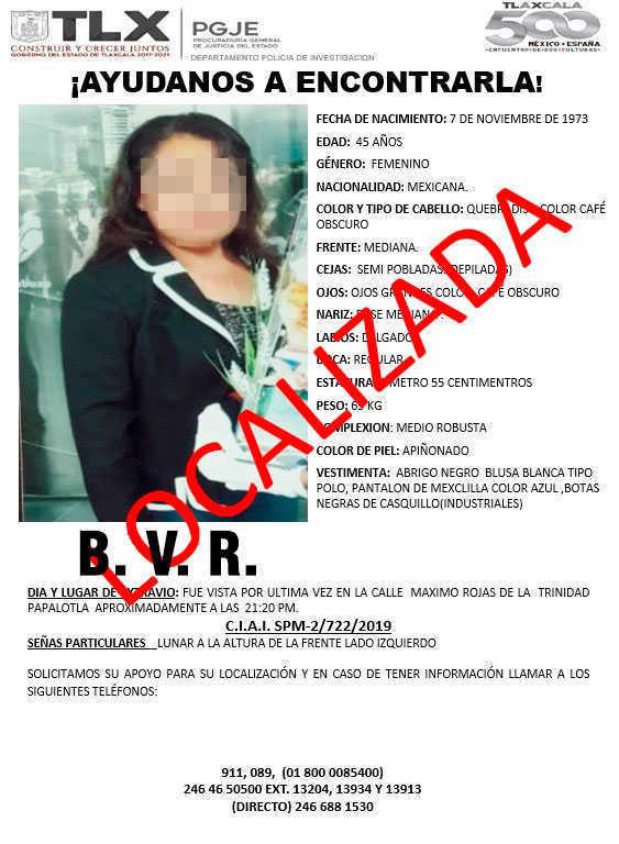 Localiza PGJE A mujer reportada como desaparecida en Papalotla