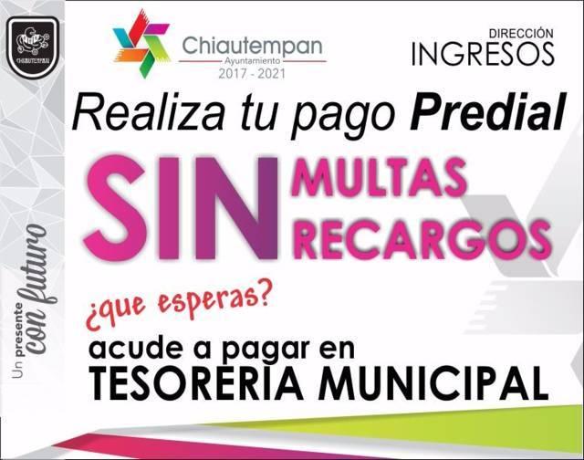 Chiautempan te ofrece 100% de descuento en multas y recargos de Predial