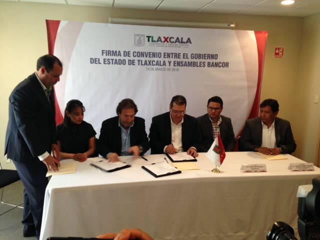 Gobernador del Estado firma convenio con empresa Ensambles Bancor
