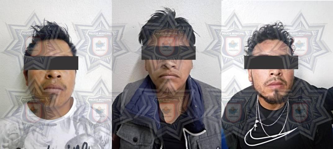 Policías de Chiautempan capturan en segundos a tres asaltantes