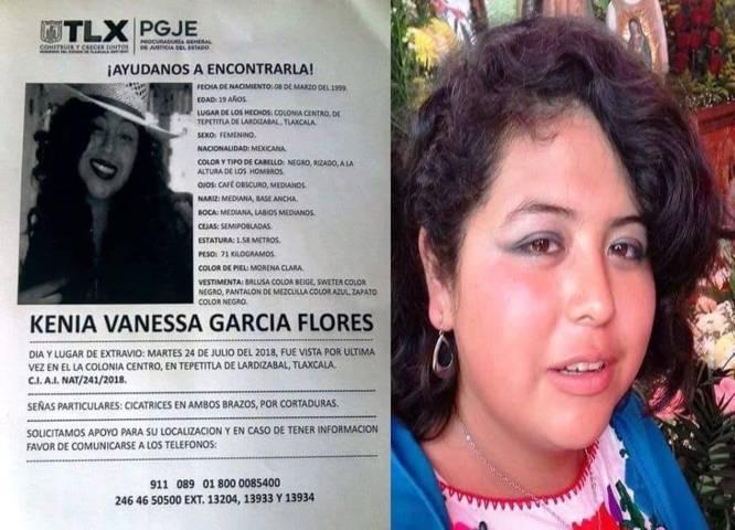 El Ayuntamiento de Chiautempan pide su colaboración para hallar a Kenia Vanessa García Flores