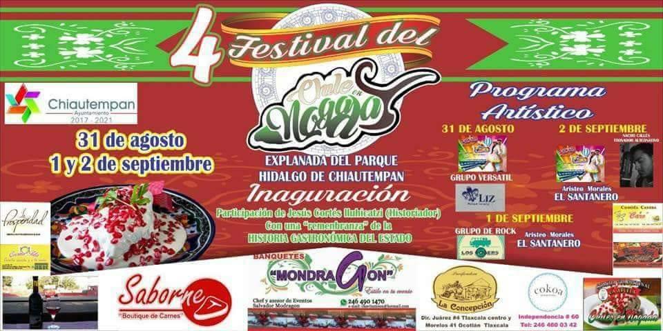 Chiautempan celebrará el Cuarto Festival Del Chile En Nogada
