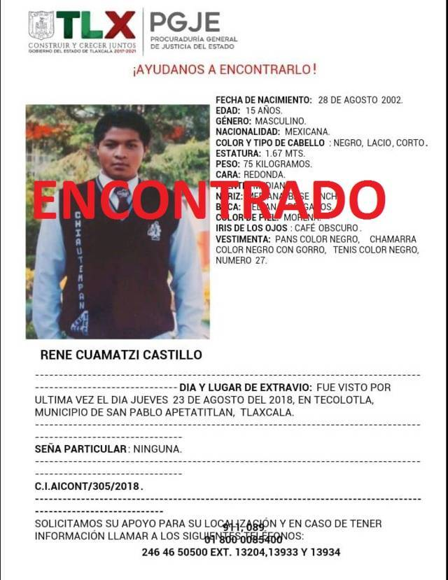 Policía Municipal de Chiautempan da con el paradero de joven reportado como extraviado