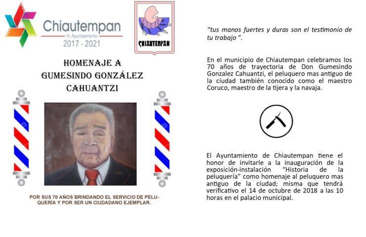 Reconocerá Héctor Domínguez Rugerio al peluquero más antiguo de Chiautempan