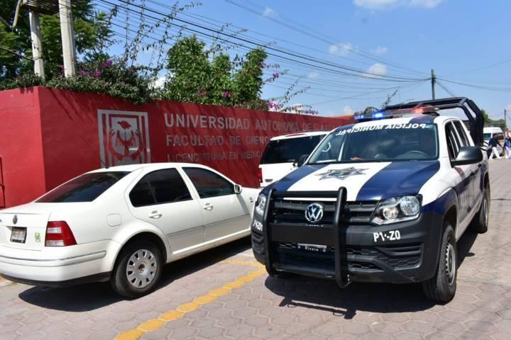 Policía Municipal realizan acciones preventivas en la facultad de medicina de la UAT