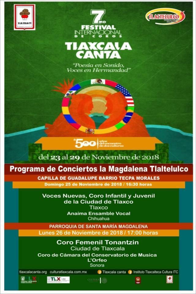 """Este lunes 26 llega el 7mo Festival Internacional de Coros """"Tlaxcala Canta"""" a Tlaltelulco"""