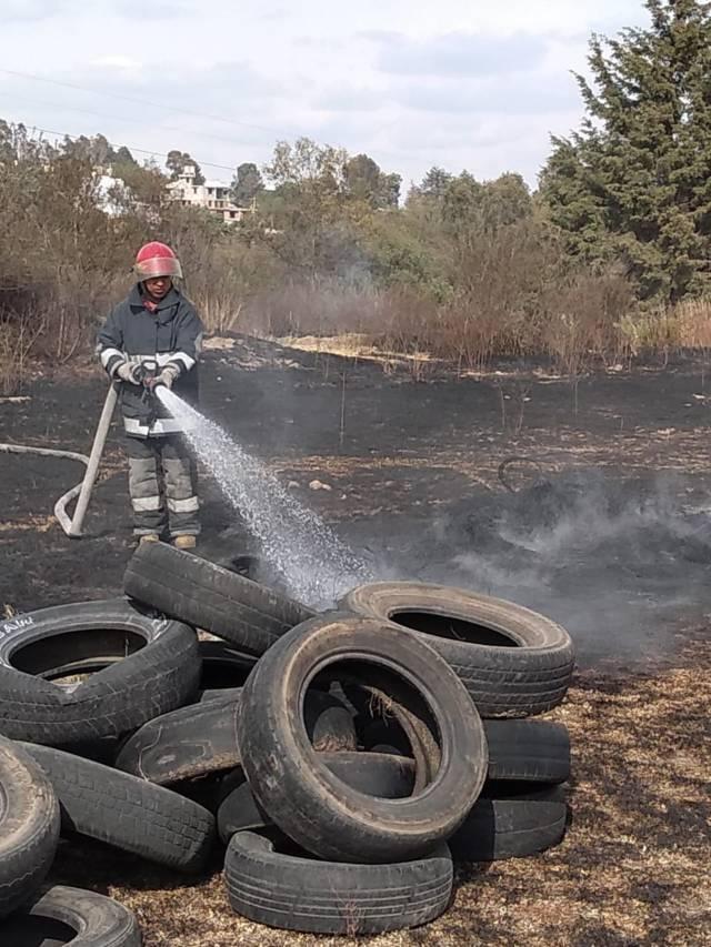 Atiende seguridad pública llamado para sofocar incendio