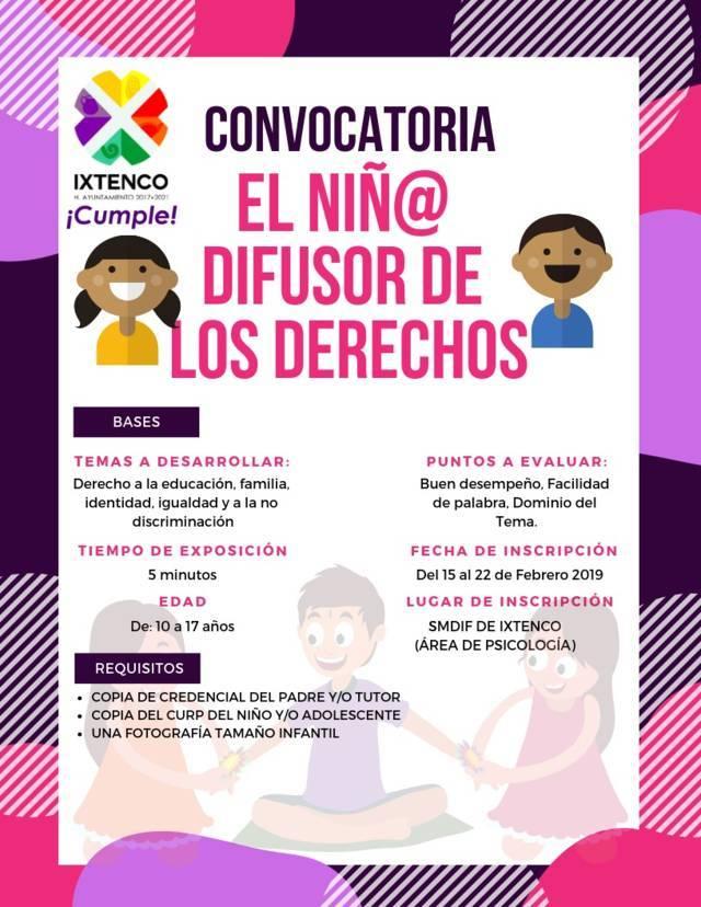 SMDIF  de Ixtenco abre convocatoria para encontrar niño@ difusor
