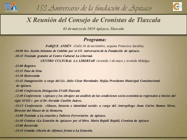 Apizaco, sede de la X Reunión del Consejo de Cronistas de Tlaxcala