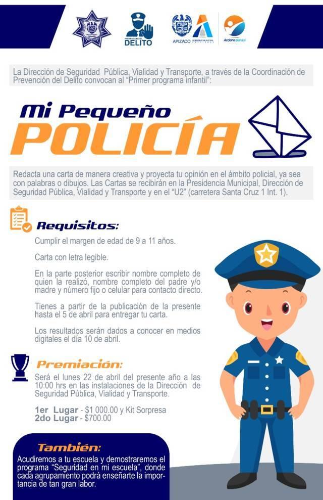 """Realizarán concurso """"Mi Pequeño Policía"""" en Apizaco"""