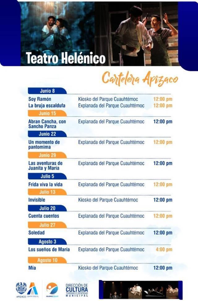 Imperdible cartelera de Teatro Helénico en Apizaco