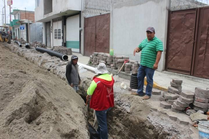 Inician obras de drenaje en la cabecera municipal de Chiautempan