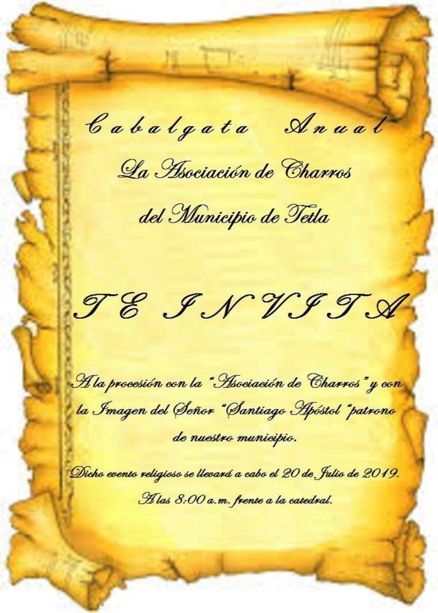 Este sábado 20 de julio se llevará a cabo la Cabalgata en honor a Santiago Apóstol