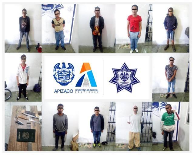 Asegura Policía de Apizaco a 11 personas en operativo de seguridad