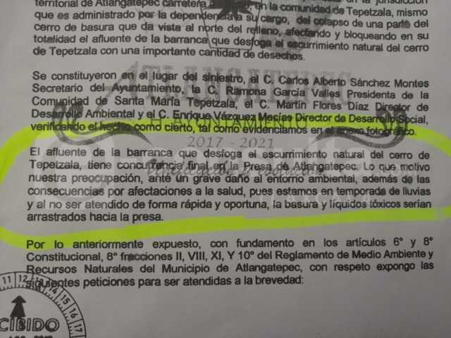 Ecología del Estado tenía conocimiento del problema del relleno sanitario: MFD