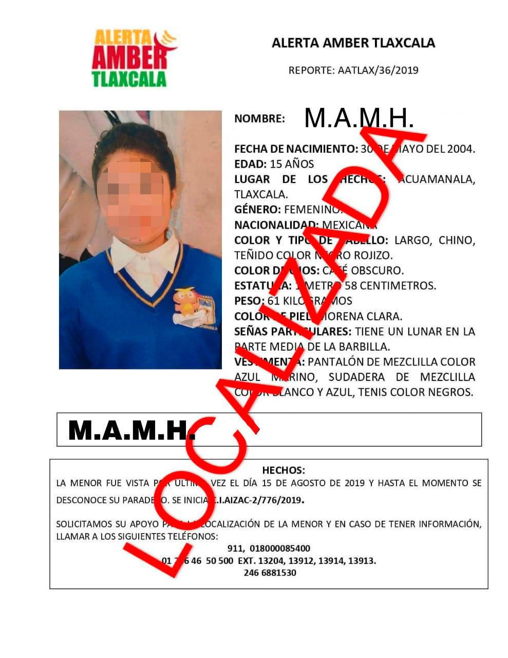 Localiza PGJE a menor reportada como desaparecida en Acuamanala