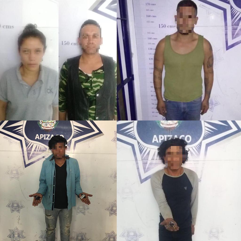 En horas, la Policía de Apizaco aseguró a 5 presuntos delincuentes