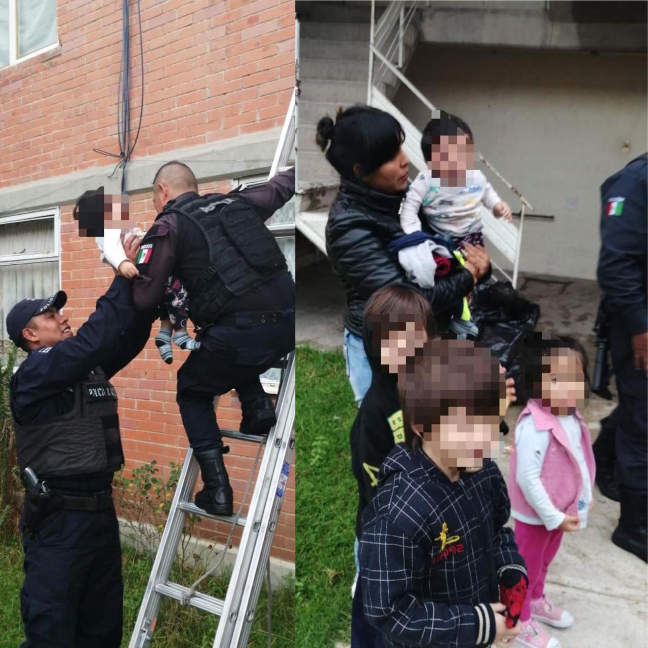 Rescatan policías de Apizaco a cuatro menores y una mujer que dejaron encerrados