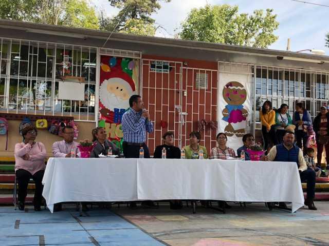 Alcalde de Apizaco entrega obra en escuela de Santa Anita Huiloac