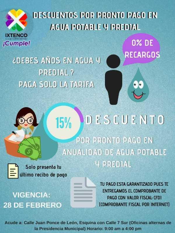 Inicia en Ixtenco campaña de descuento en agua potable y predial 2020