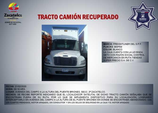 Policía Municipal de Zacatelco recupera camión robado