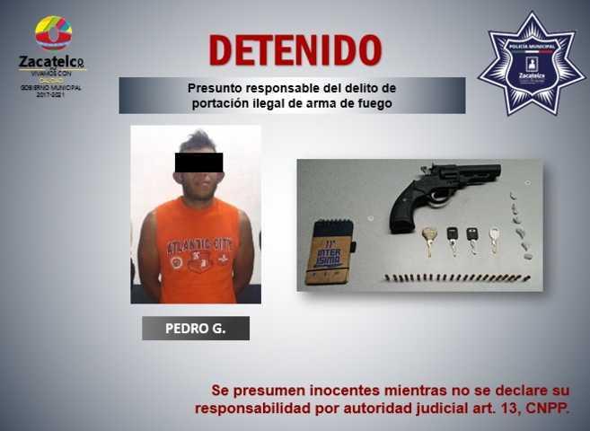 Policía municipal de Zacatelco detiene a sujeto con droga