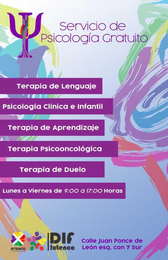 Ofrece SMDIF de Ixtenco, servicios gratuitos de Psicología