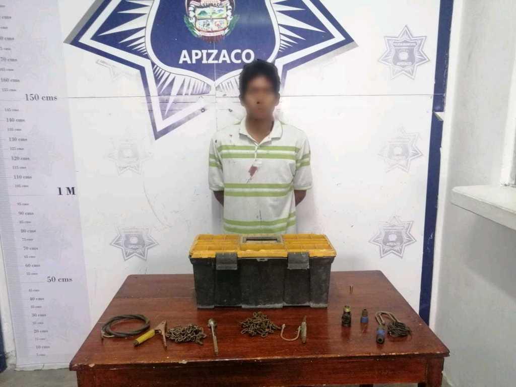 Policía de Apizaco pone a disposición del M.P a un sujeto por robo