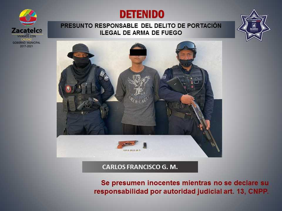 Policía de Zacatelco detiene a masculino armado
