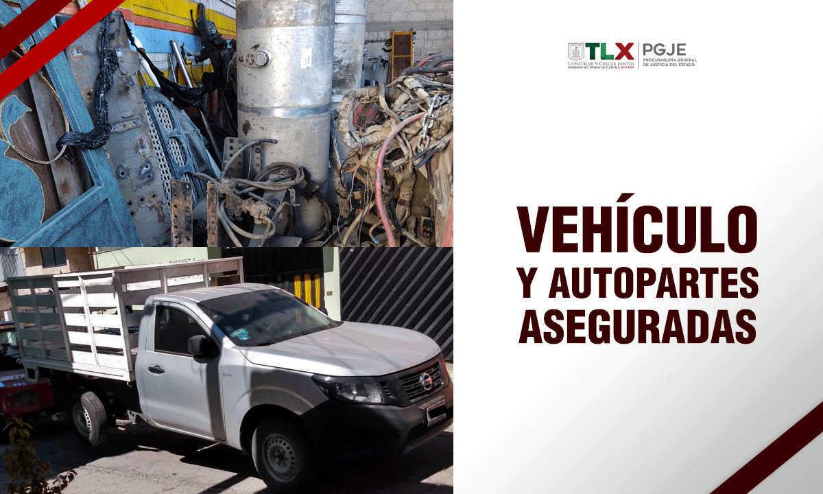 En diligencias de extracción recupera PGJE un vehículo y autopartes con reporte de robo