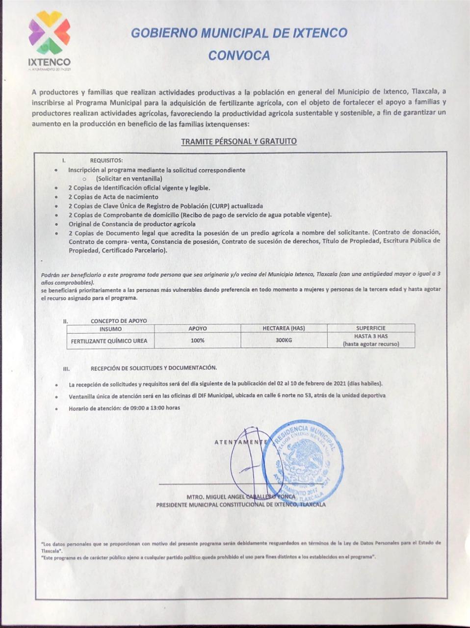 Pública Ixtenco convocatoria para acceder al Programa de Fertilizante Gratuito