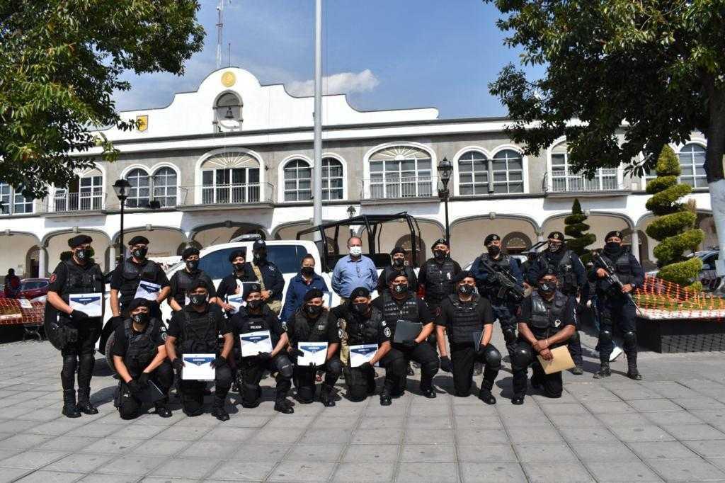 Entrenamiento constante a elementos de seguridad en Zacatelco