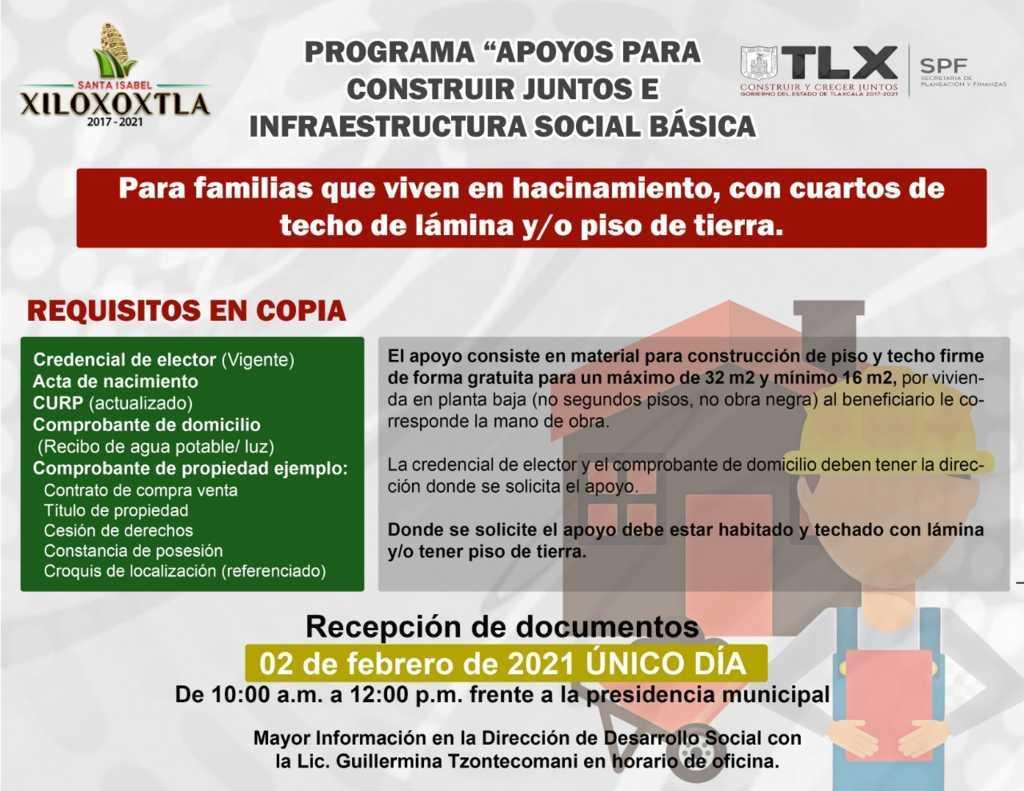 Atenta convocatoria para apoyos en contrucción de infraestructura en Xiloxoxtla