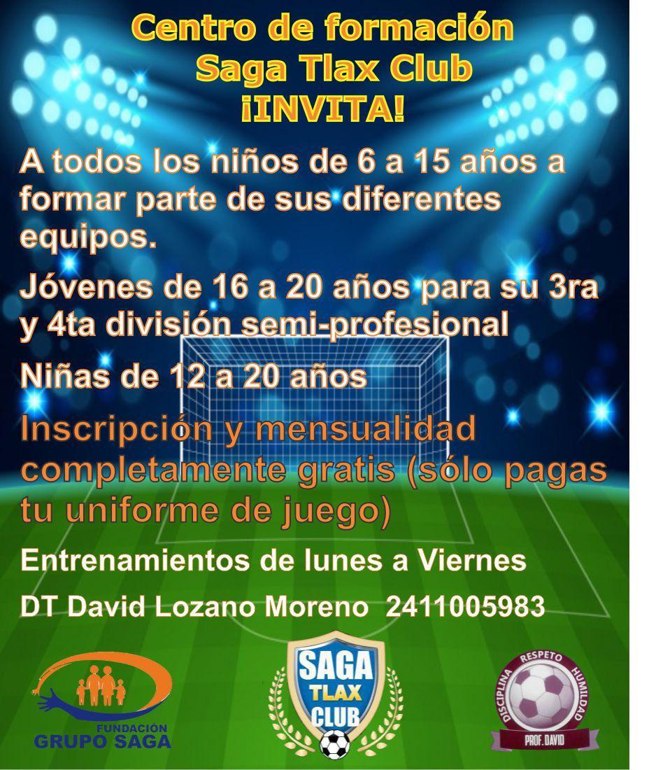 Futbol SAGA Tlax Club, abre convocatoria para visorias y entrenamiento de futbolistas