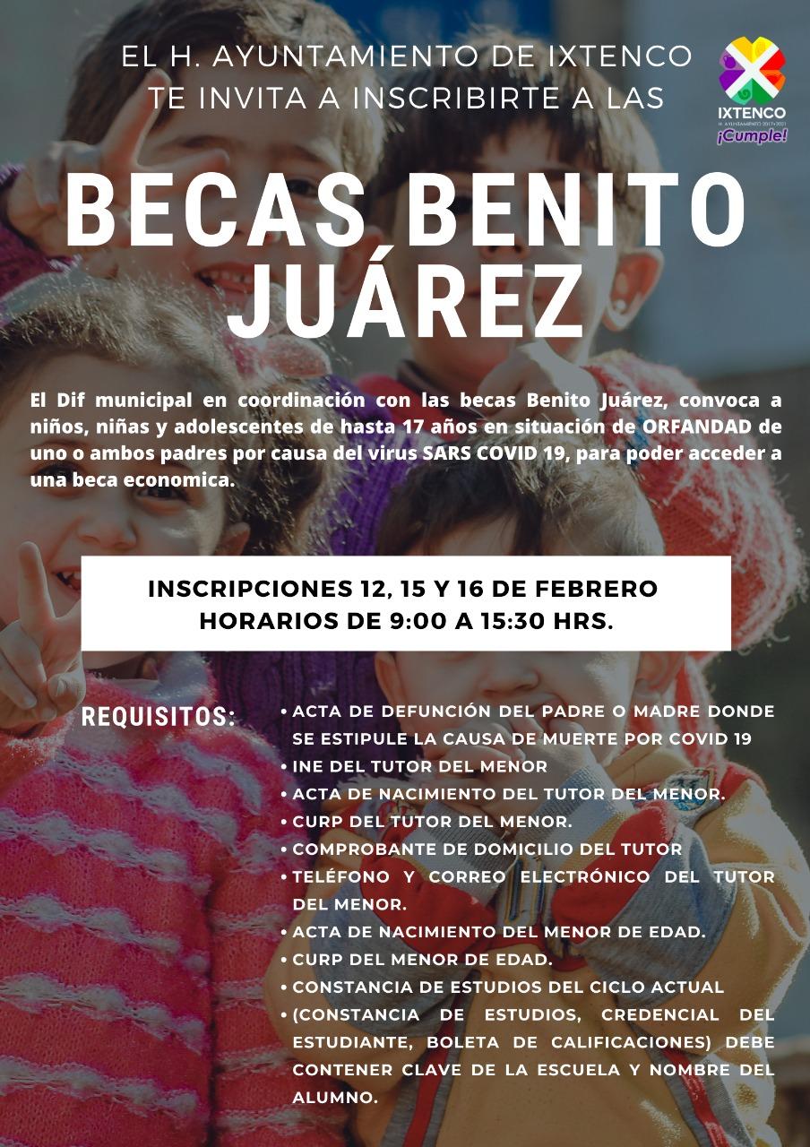 Convoca Ixtenco a participar en las Becas Benito Juárez