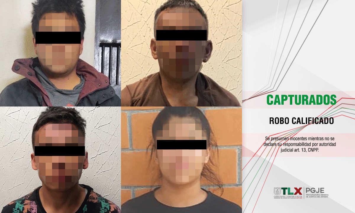 Capturan PGJE, SSC y policía de Tetla a cuatro imputados por robo a tienda de conveniencia