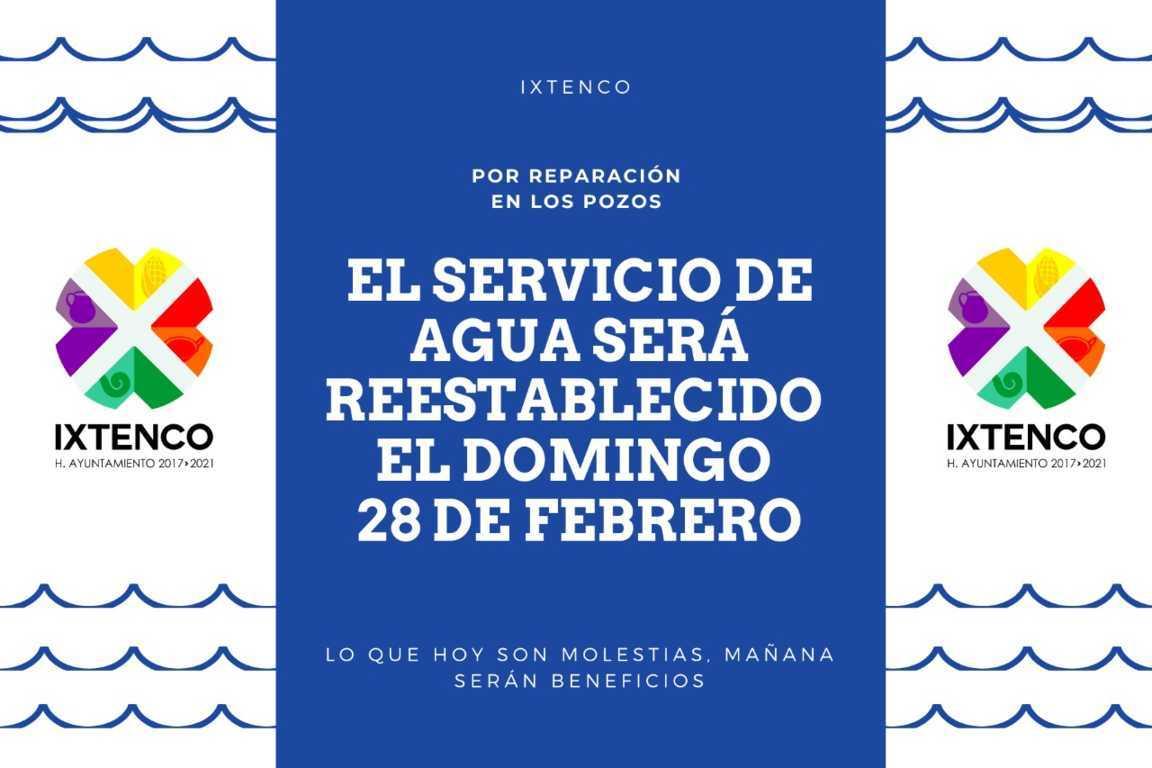 Servicio de agua potable en Ixtenco se restablecerá el próximo domingo