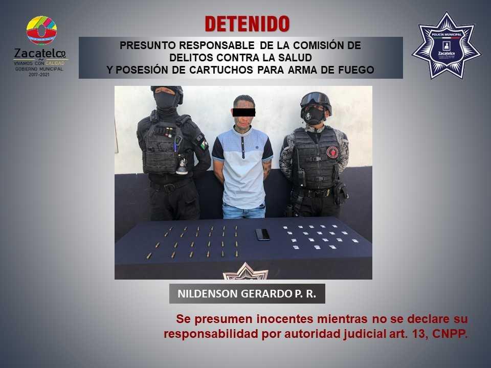 Policía municipal de Zacatelco detiene a un hombre por presuntos daños contra la salud