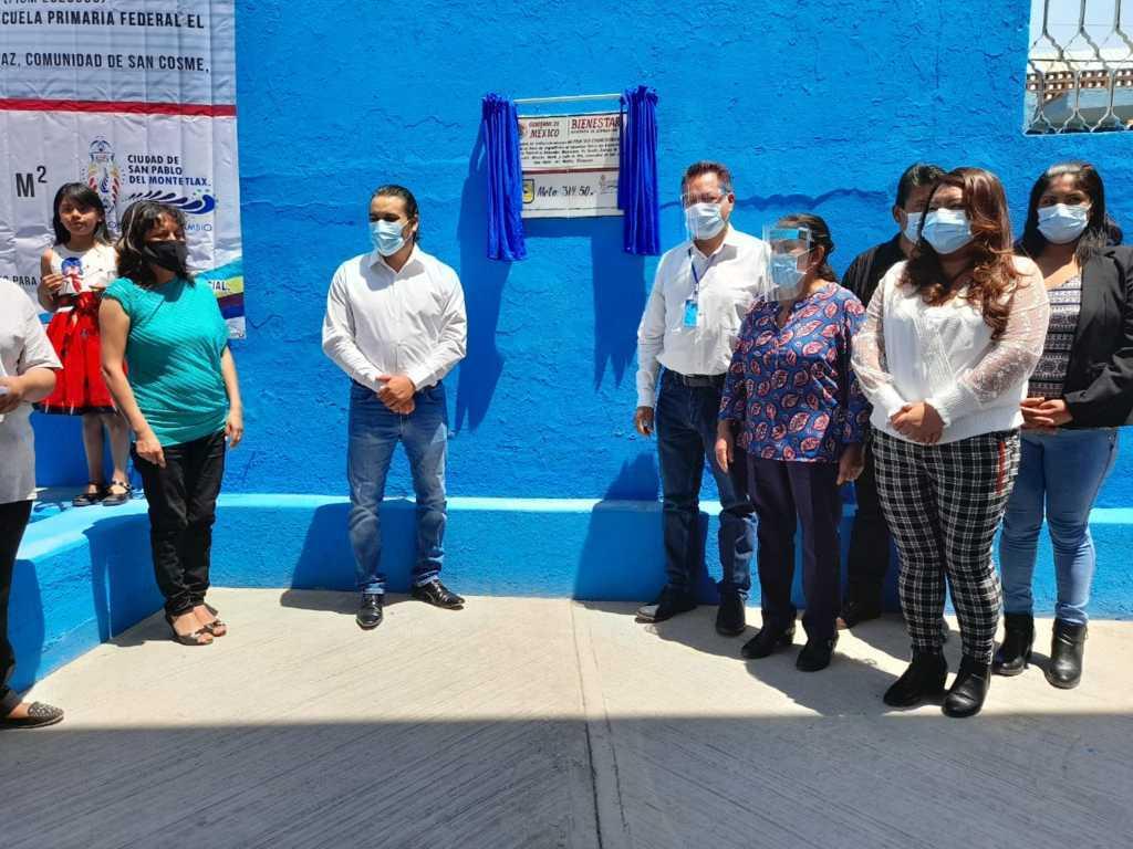Cutberto Cano inaugura techumbre escolar en San Pablo del Monte