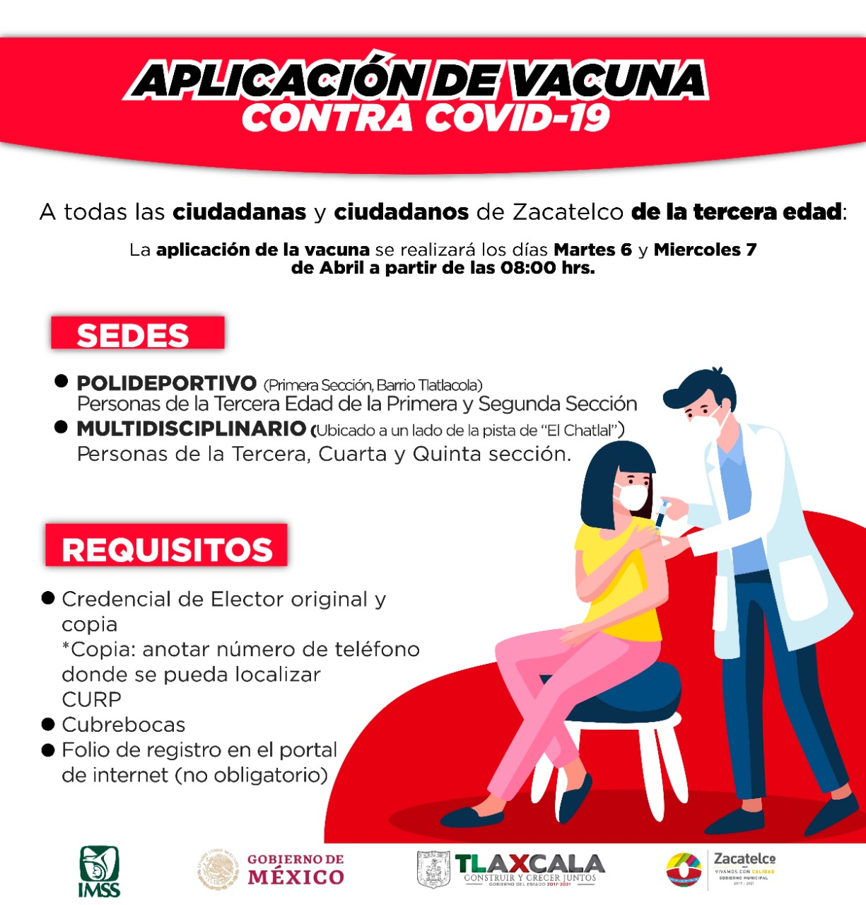 Anuncian vacunación contra COVID-19 a adultos mayores de Zacatelco