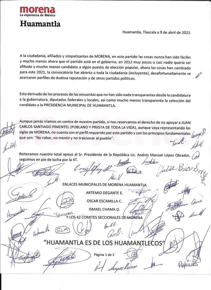 Morenistas de Huamantla siguen juntando firmas en rechazo de imposiciones