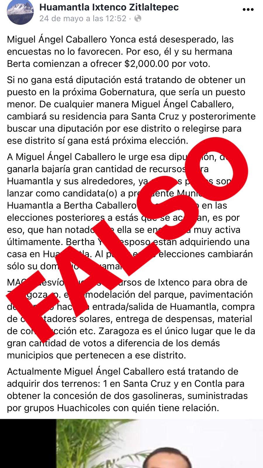 Desmienten compra de votos, Caballero Yonca pugna por la legalidad de la elección