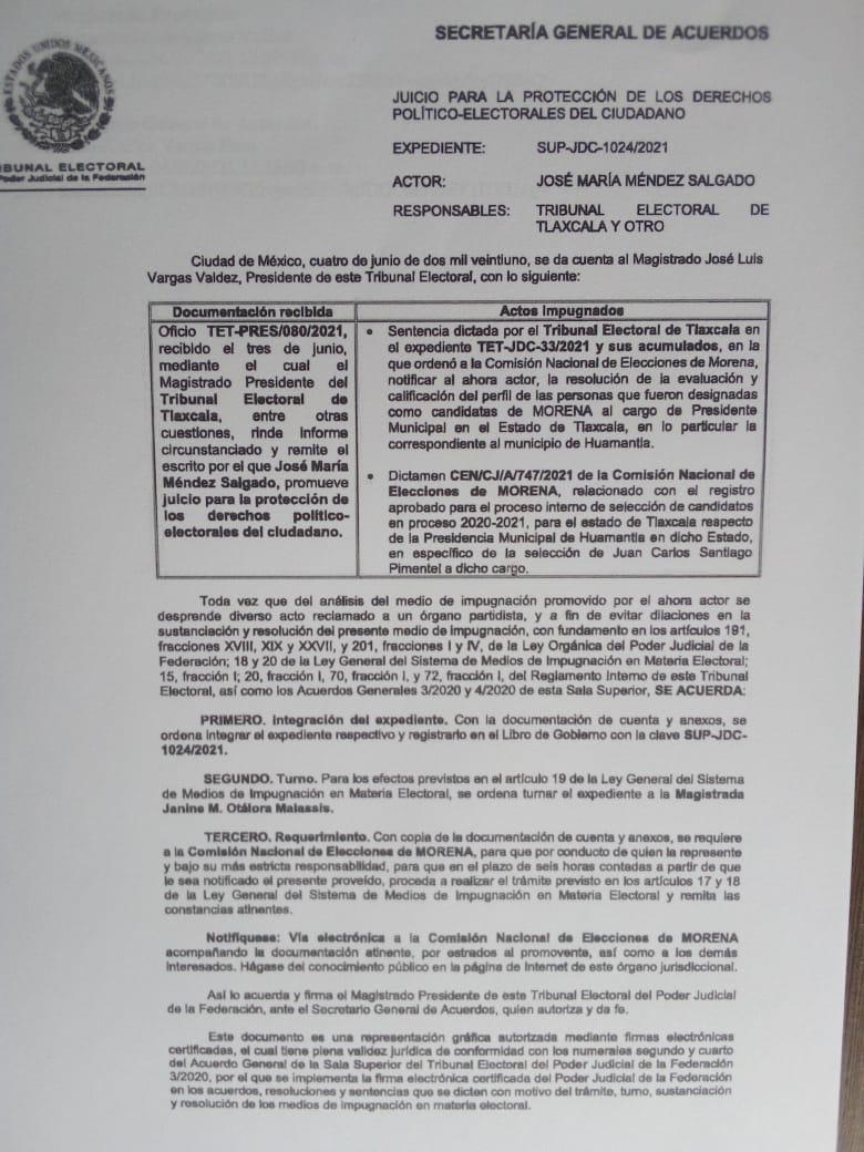 Tribunal Federal admite la inconformidad de Chema ante la candidatura de Pimentel