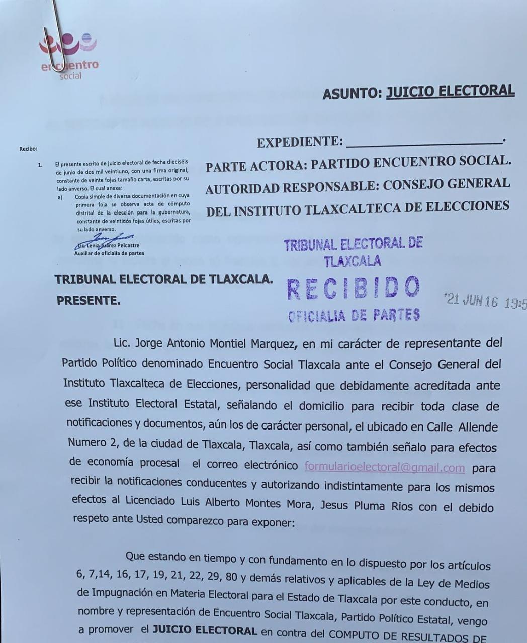 El PEST presenta impugnación ante el Tribunal Electoral de Tlaxcala